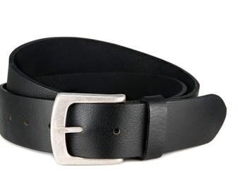 Leather belt black buffalo leather antique silver buckle
