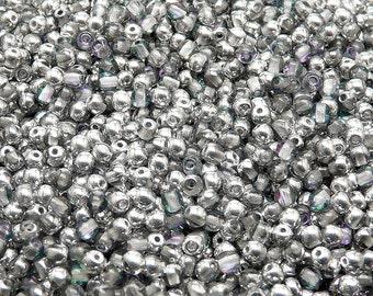 100pcs 3mm Czech Pressed Glass Beads Round Crystal Vitrail Light (3RP022)