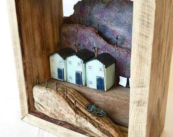 Driftwood Art Driftwood Sculpture Recycled Wood Art Little Wooden Houses Diorama