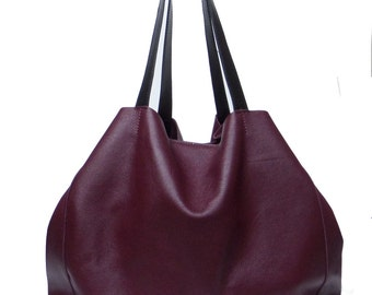 Burgundy leather bag shopper