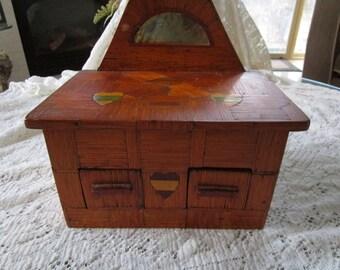 Rare Antique Folk Tramp/Prisioner Art Dresser/chest with Bakelite Hearts