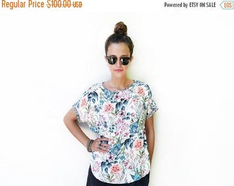 SALE - Floral Top, White Blouse, Loose Shirt, Blouse Top, Short Sleeve Blouse, Unique Clothing, Summer Fashion, Loose Summer Top / XS, S