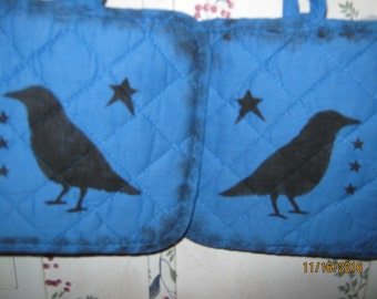 Primitive Small Crow Pot Holder Blue Gift Hostess House Warming Shower