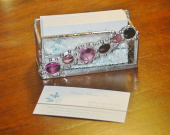 Business Card Holder Stained Glass with Glass 'Gem' Embellishments Made to Order Choice of Colors Desk Accessory Office Decor Home office