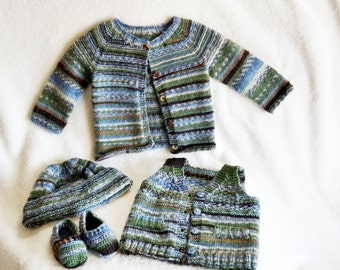 Knit & Crochet Baby Sweater, Vest, Hat and Shoes