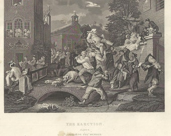 "Hogarth 19th Century Engraving ""The Election--Chairing the Members"" 8.5x11"
