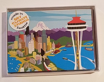 Seattle Icons- Set of 10 Blank Note Cards with envelopes