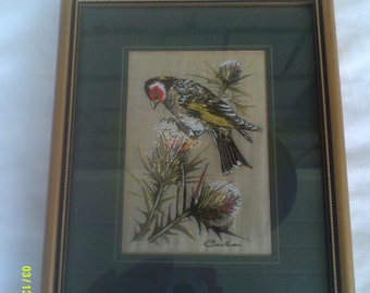 Woven Silk Goldfinch Picture, by J&J Cash LTD, Coventry England, Framed Bird Picture, Bird Textile Picture, Woven Silk Picture, Framed Bird