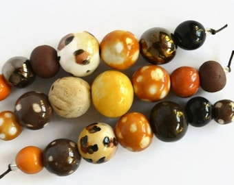 African beads, 21 handmade ceramic beads, brown, black, leopard print, Handmade Beads, clay beads,  bead shop, art beads, made in Africa