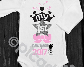 Baby boy my first new years personalized onesie new year top my first new years personalized baby girl onesie with princess crown and silver glitter star for negle Gallery