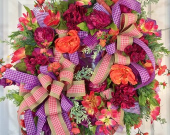 Coral and Purple Spring and Summer Mesh Door Wreath