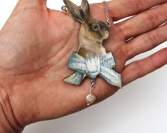 Rabbit necklace, vintage necklace, hare necklace, rabbit jewelry, hare jewelry, necklace, rabbit