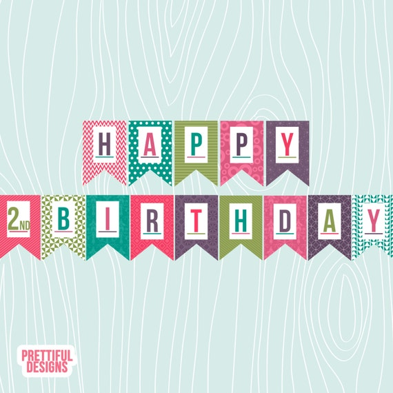 Items Similar To Girls Happy 2nd Birthday Bold Colors