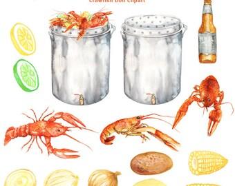 Watercolor Crawfish Boil Clipart - digital printable clipart  - 300 dpi PNG, transparent background