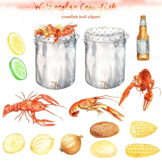 watercolor crawfish boil clipart digital printable clipart