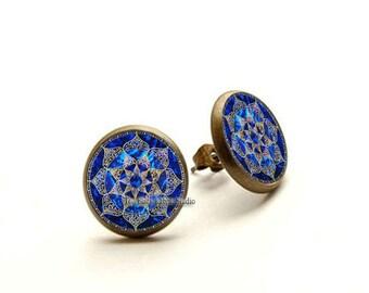 Lotus Mandala Earrings, Lotus Flower Mandala Earrings, Lotus Jewellery, Spiritual Jewelry, Buddhist Jewelry