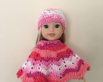 "Hand crocheted hat and poncho set for 14.5"" doll such as American Girl Wellie Wishers"