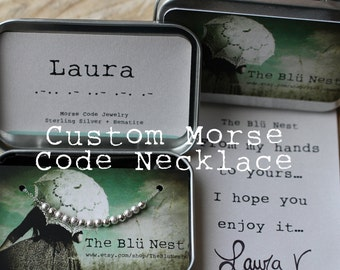 Custom Morse Code necklace, Name, Friendship, Personalised Jewelry, Sorority, Sterling silver, 14K Yellow or 14K Rose Gold filled necklace
