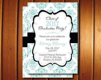 Graduation Party Invitations - Printable Damask Grad Announcement for High School or College