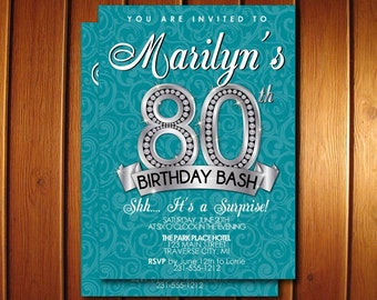 80th Birthday Invitation - Adult Birthday Party Invitation - Diamond Milestone