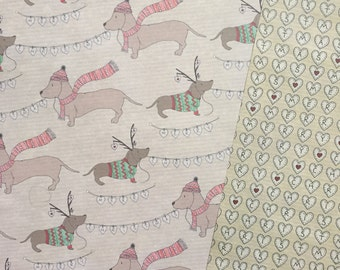 Sausage dog double sided Christmas wrapping paper dachshund hearts bunting design