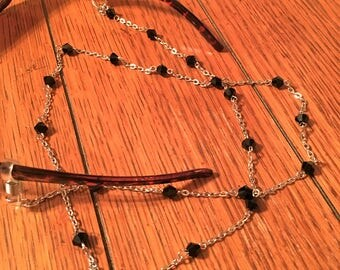 Eyeglasses Chain. Black Glass Beads on small Silver chain.