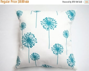 CLEARANCE SALE Pillow Cover, Pillow, Turquoise Pillow, Decorative Throw Pillow, Throw Pillow, Accent Pillow, Turquoise Dandelions, Cushion,