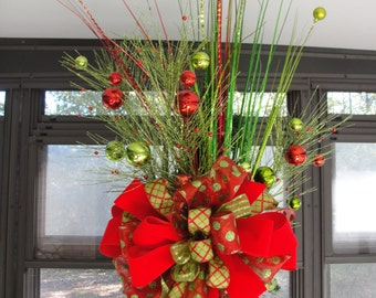 Red Lime Christmas TreeTop Bow Glitter Balls Accents Sprays Florist Made