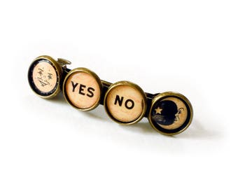 Ouija Sun/Moon Yes/No Symbol Bronze Barrette