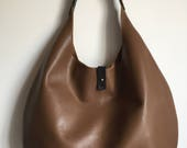 Tan leather hobo leather shopper tan leather tote tan leather handbag leather shoulder bag leather hobo leather tote brown bag tote