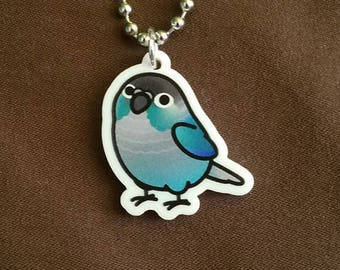 "Chubby Turquoise Green Cheek Conure 1"" Pendant and Stainless Steel Ball Chain Necklace"