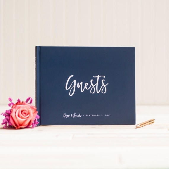 Wedding Guest Book landscape horizontal navy wedding guestbook personalized hardcover album planner lined pages nautical instant photo booth