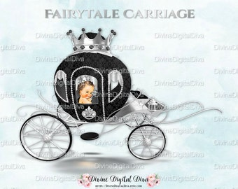Little Prince Carriage Coach Black & Silver Crown | Caicasian |  Clipart Instant Download