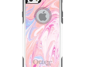 OtterBox Commuter for Apple iPhone 5S SE 5C 6 6S 7 8 PLUS X 10 - Custom Monogram - Any Colors - Pink Blue Blush Marble Print