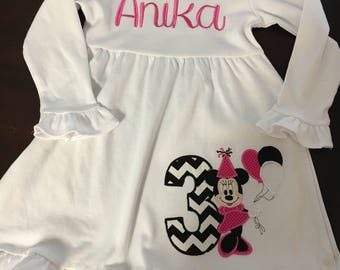 Personalized Borthday Mouse Dress with Name or Monogram