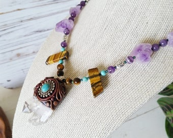 OOAK Quartz Pendant Necklace with Amethyst and Tigers Eye