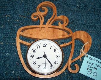Coffee Kitchen Clock Coffee Decor Coffee Gift Coffee Wood Clock Scroll