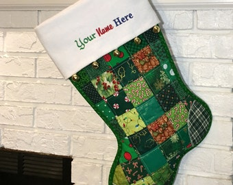 Quilted Christmas Stocking, Green Patchwork with Red and Gold, Free Personalization, Flannel Cuff with Jingle Bells, Fully Lined