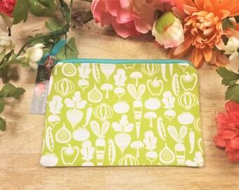 Zipper pouch, Make up bag, Cosmetic bag, Travel pouch, Veggie pouch, Vegetables, Garden pouch, Pencil case