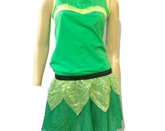 Tinkerbell inspired running costume-running shirt and sparkle running skirt (optional arm sleeves)