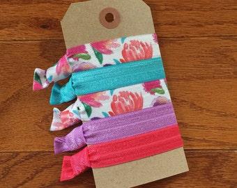 Spring Blooms Elastic Hair Tie Set- Emi Jay Inspired- Set of 5