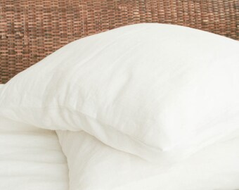 White Linen Pillowcase/ Linen Sham/ Natural Linen/ Softened Linen/ Queen pillow cover