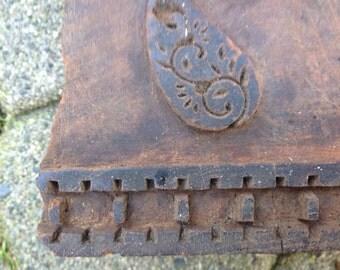 Vintage hand carved Wood block stamp