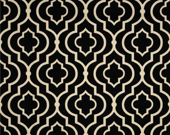 Black Onyx Window Treatment Curtain Rod Pocket Draperies Black and Ivory Curtains