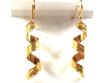 24k Twist Dangle Earrings 5.6 Grams