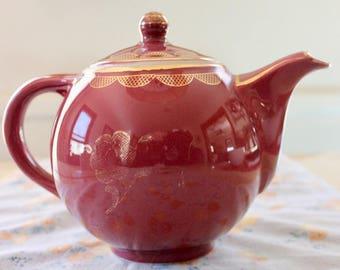 Vintage Hall China Teapot Mauve with Gold Trim Teapot  0713