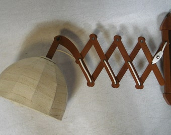 50s 60s Scissors Wall Lamp, Teak Mid Century Danish Modern