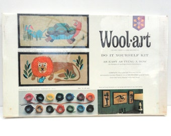 60s NIB Wool-Art DIY Kit 1965 Hallman Products Created Craft Vintage Aesop's Fables Lion And Mouse Tortoise And Hare Mid Century Fiber Arts