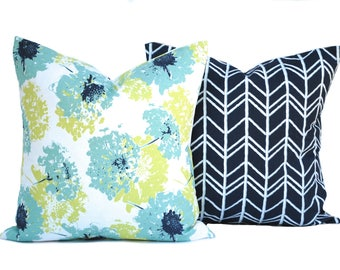 2 pillow covers, 1 floral and 1 geometric, decorative throw pillow, decorative pillow, accent pillow, pillow case, DIFFERENT SIZES AVAILABLE