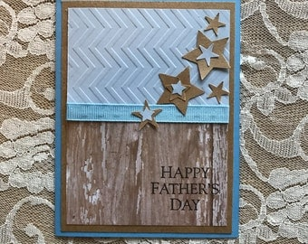 Handmade Greeting Card: Father's Day card, handmade card, peeling paint, blue and white, stars